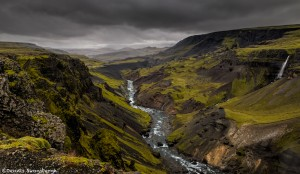 2824 Highland Valley Below Haifass and Granni Waterfalls, Iceland
