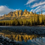 2939 Sunset, Castle Mountain and Bow River, Banff National Park, Alberta, Canada