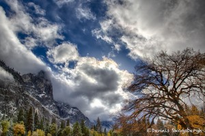 1754 Yosemite Valley, Autumn Color, Clearing Storm Clouds