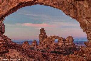 4399 Sunrise, Turret Arch Through North Window, Arches NP, UT