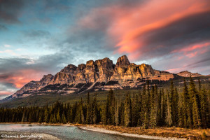 3281 Castle Mountain and Bow River, Banff NP, Alberta Canada