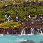 7538 Panorama of Hraunfossar (Borgarfjörður) Waterfalls, Western Iceland